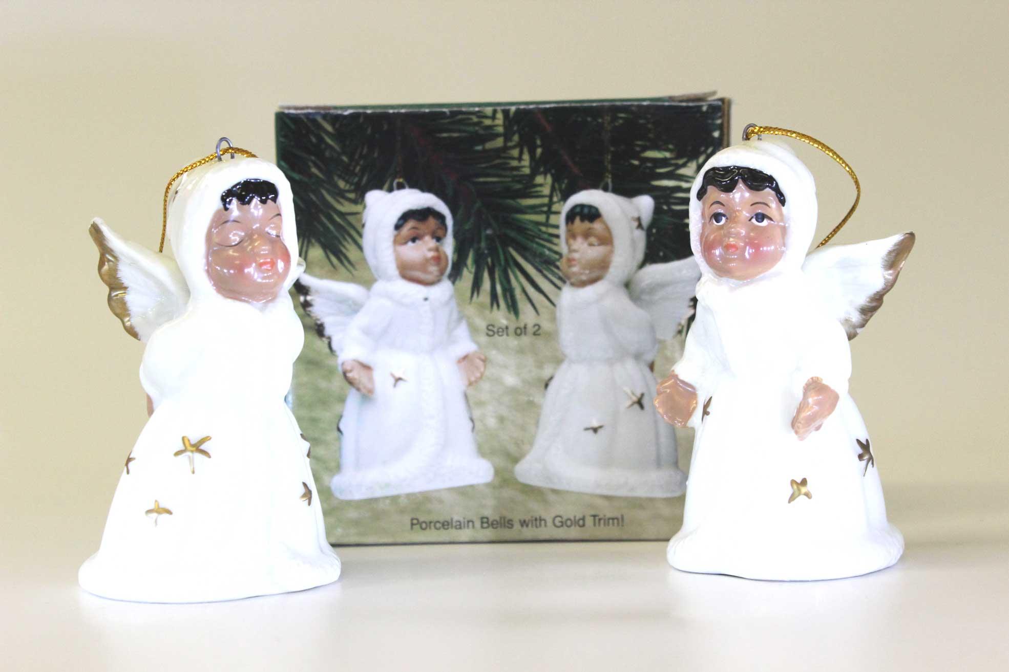 Porcelain Angel Bells Set of 2 - Christian Gifts - Holiday Gifts Mart