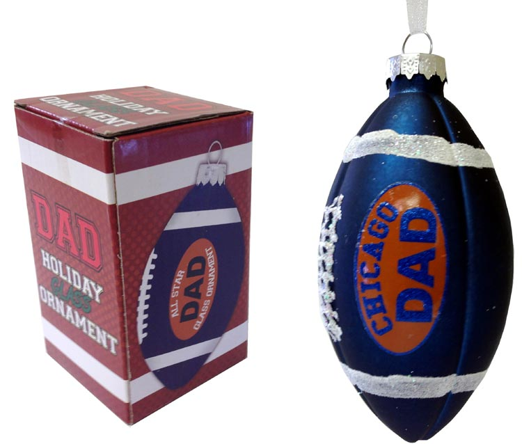 Dad Rocks Chicago Football Ornament - Dad Gifts - Holiday Gifts Mart