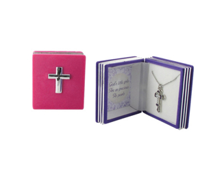 Cross Charm Pendant in Bible Case - Christian Gifts - Holiday Gifts Mart