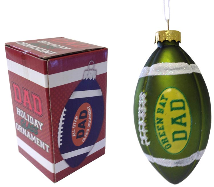 Green Bay Dad Rocks Football Ornament - Dad Gifts - Holiday Gifts Mart