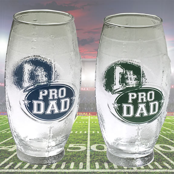 Pro Dad Football Shaped Glass Mug - Dad Gifts - Holiday Gifts Mart