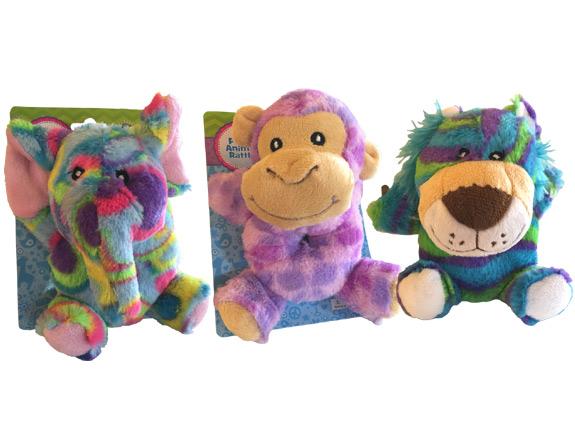 Safari Plush Animal Baby Rattle - Baby Gifts - Holiday Gifts Mart
