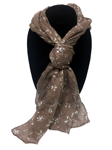 Tan Snowflake Designer Scarf - Gifts For Women - Holiday Gifts Mart