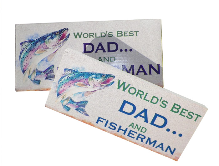 Worlds Best Dad & Fisherman Plaque - Dad Gifts - Holiday Gifts Mart