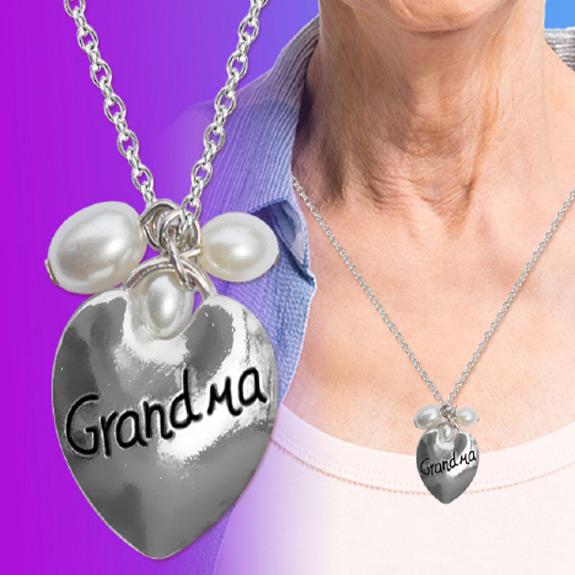 Grandma Heart Pearl Necklace