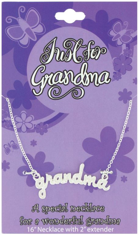 Just for Grandma Necklace on Card - Grandma Gifts - Holiday Gifts Mart