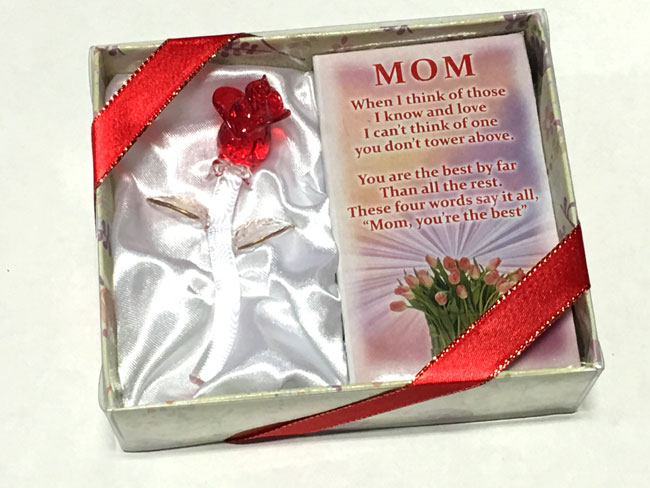 Mom Glass Gift Rose - Mom Gifts - Holiday Gifts Mart