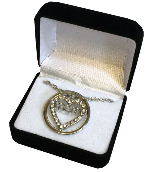 Mom Crystal Silver Necklace in Black Box - Mom Gifts - Holiday Gifts Mart