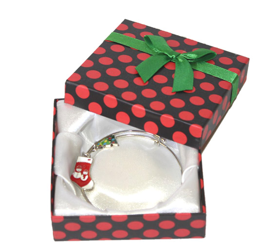 Holiday Charm Bracelet in Polka Dot Box - Jewelry Gifts - Holiday Gifts Mart