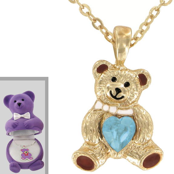 Teddy Bear Pendant with Box - Jewelry Gifts - Holiday Gifts Mart