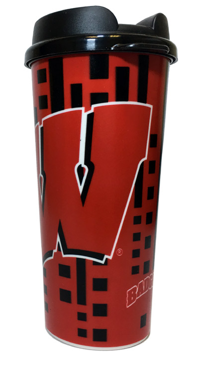 Wisconsin Badgers 16 Oz. Travel Mug - Sports Team Logo Gifts - Holiday Gifts Mart