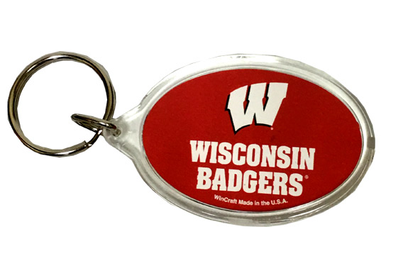 Wisconsin Badgers Key Chain - Acrylic - Sports Team Logo Gifts - Holiday Gifts Mart
