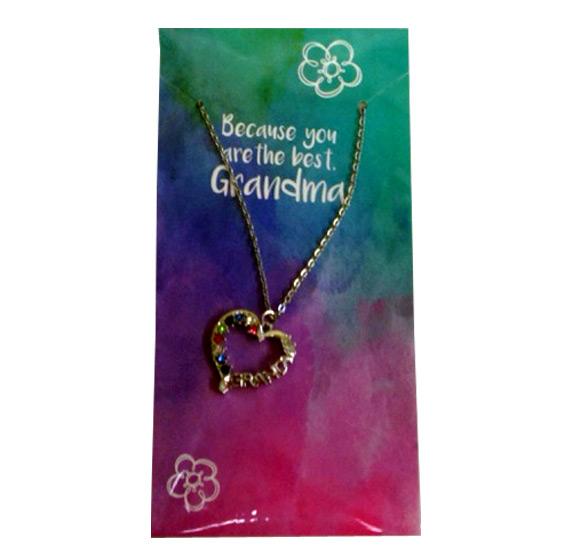 Grandma Heart Necklace on Card