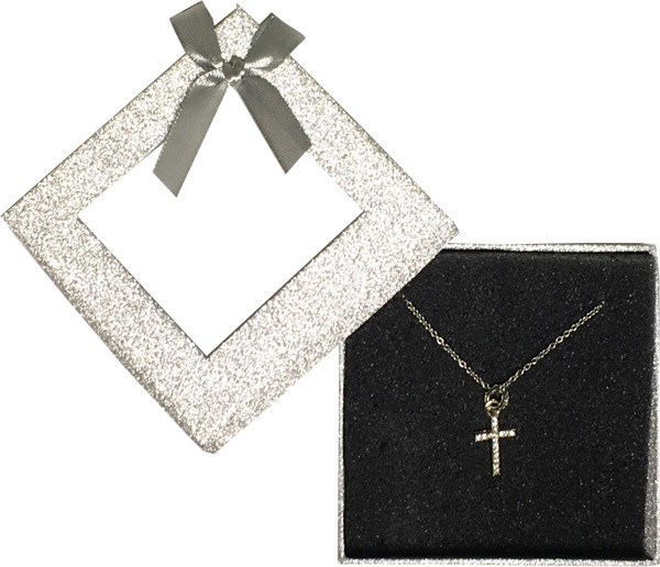 Silver Gem Cross Necklace Window Box