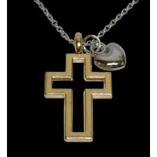 Faith Love Gold Cross Heart Necklace