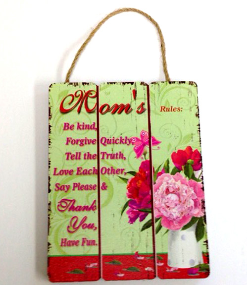 Mom Rules Wood Plaque