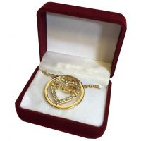 Grandma Crystal Gold Heart Necklace in Maroon Box - Grandma Gifts - Holiday Gifts Mart
