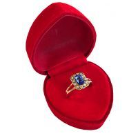 Cocktail Ring in Red Velvet Heart Box - Jewelry Gifts - Holiday Gifts Mart