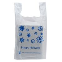 50 Pack - Happy Holidays T-Shirt Shopping Bags - Santa Shop Gift Bags - Holiday Gifts Mart