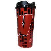 Wisconsin Badgers 16 Oz. Travel Mug - Sports Team Logo Gifts - Holiday Gifts Mart