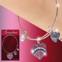 Grandma Glitter Heart Charm Bracelet - Grandma Gifts - Holiday Gifts Mart