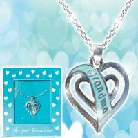 Grandma Teal Heart Necklace - Grandma Gifts - Holiday Gifts Mart