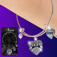 Mom Glitter Heart Charm Bracelet - Mom Gifts - Holiday Gifts Mart