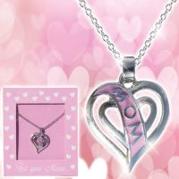 Mom Pink Heart Necklace - Mom Gifts - Holiday Gifts Mart