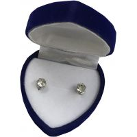 Diamond Earrings in Velvet Heart Box - Jewelry Gifts - Holiday Gifts Mart